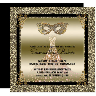 Cartão Ouro preto do doce dezesseis do mascarada | do