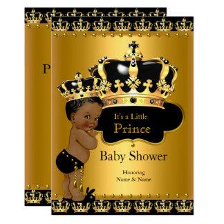 Cartão Ouro real do preto do príncipe chá de fraldas