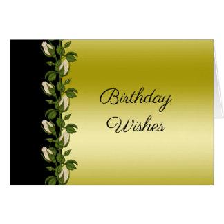 Cartão Ouro romântico floral chique & aniversário preto