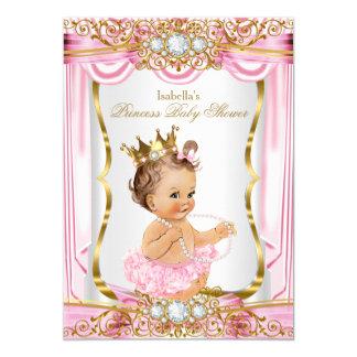 Cartão Ouro triguenho da seda do rosa da princesa chá de