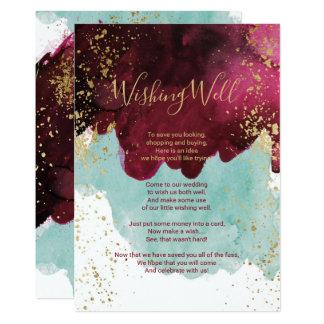 Cartão Ouro vermelho da aguarela da cerceta de Marsala