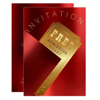 Cartão Ouro vermelho do rubi do metal do bilhete do