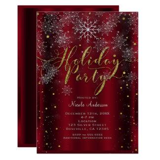 Cartão Ouro vermelho elegante do floco de neve da festa