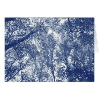 Cartão Outono azul - efeito de Cyanotype