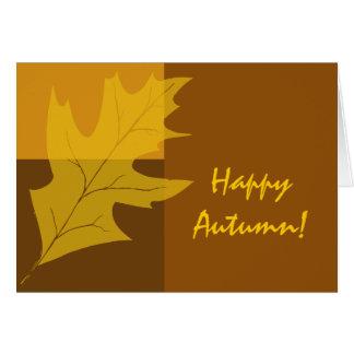 Cartão Outono feliz do bloco da cor da queda