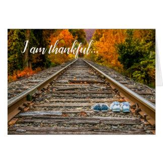 Cartão Outono grato da queda da amizade da acção de