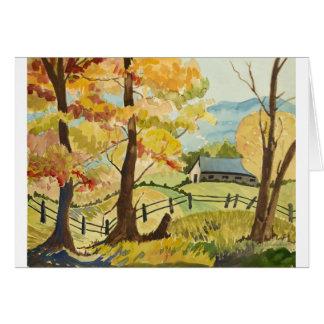 Cartão Outono na fazenda