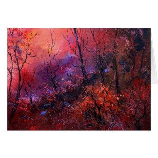Cartão Outono na madeira