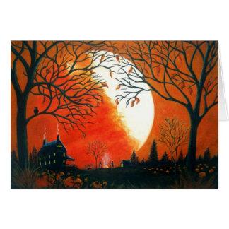Cartão Outono, queda, paisagem, sazonal, folhas, abóboras