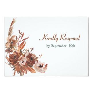 Cartão Outono RSVP Wedding floral do Sepia