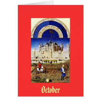 Cartão Outubro - a baga de Tres Riquezas Heures du Duc de