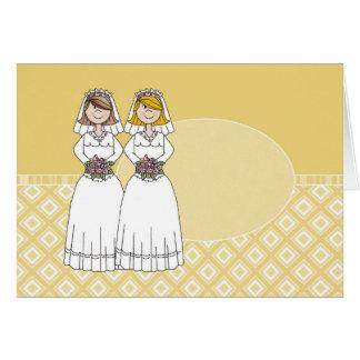Cartão oval do ouro customizável de 2 noivas (2)