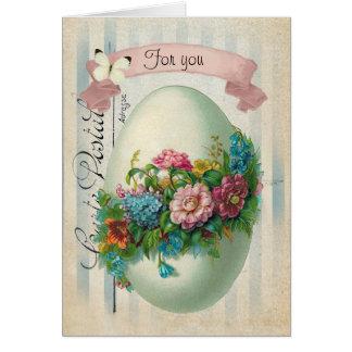 Cartão Ovo da flor da páscoa do Victorian