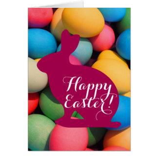 Cartão Ovos coloridos do coelho de felz pascoa