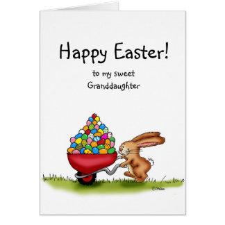 Cartão Ovos coloridos movimentos do coelhinho da Páscoa