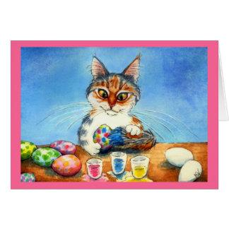 Cartão Ovos da páscoa da pintura do gato com cauda
