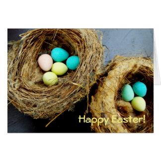 Cartão Ovos da páscoa Pastel na fotografia do ninho do
