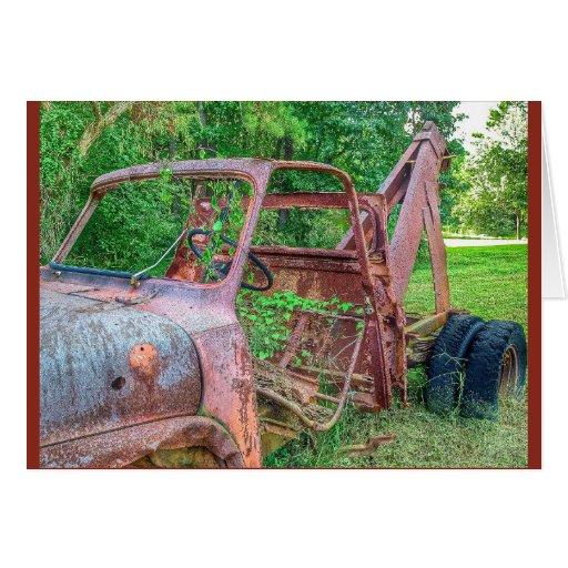 Cartão oxidado do caminhão de reboque