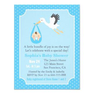Cartão Pacote de chá do bebé da entrega da cegonha da