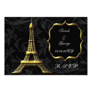Cartão padrão francês 3,5 x 5 do rsvp da torre Eiffel do