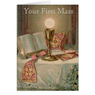 Cartão Padre católico do Eucaristia de Missal do cálice