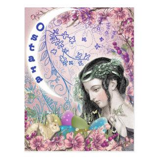 Cartão pagão da arte da fantasia de Ostara
