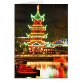 Cartão Pagode chinês na noite