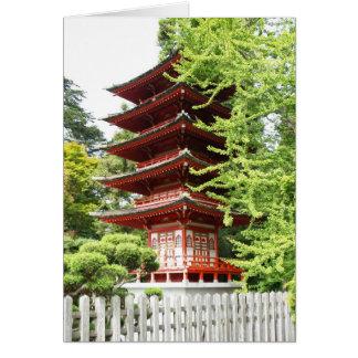 Cartão Pagode de madeira budista