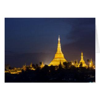 Cartão Pagode de Shwedagon na noite