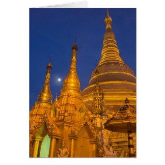 Cartão Pagode na noite, Myanmar de Shwedagon