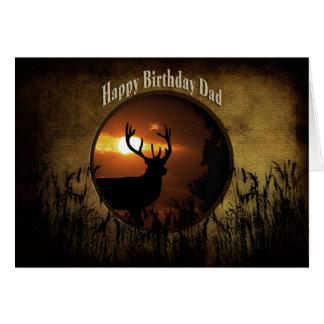 Cartão Pai do aniversário - caça dos cervos - por do sol