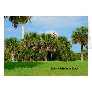 Cartão Pai do aniversário, cena do golfe