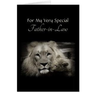 Cartão Pai do leão e dia dos pais de Cub para o sogro