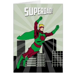 Cartão Pai retro do super-herói no ar para o dia dos pais
