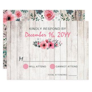 Cartão País cor-de-rosa floral de madeira rústico que