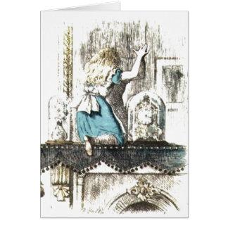 Cartão País das maravilhas entrando de Alice