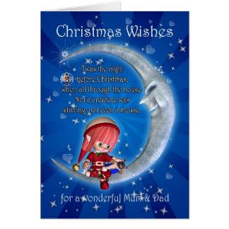 Cartão Pais, noite antes do Natal com o duende