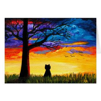 Cartão Paisagem colorida Creationarts do carvalho do gato