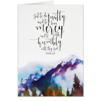 Cartão Paisagem da aguarela com escritura bíblica