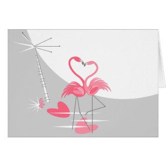 Cartão Paisagem da lua do amor do flamingo grande