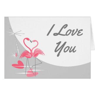 Cartão Paisagem da lua do amor do flamingo grande eu te
