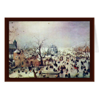 Cartão Paisagem do inverno por Avercamp Hendrik