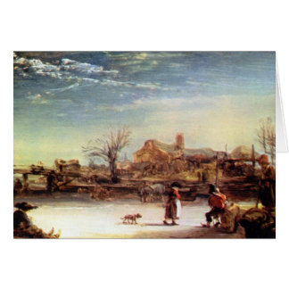 Cartão Paisagem do inverno por Rembrandt Harmenszoon