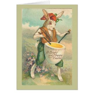 Cartão Paisagem do vintage do baterista do coelhinho da