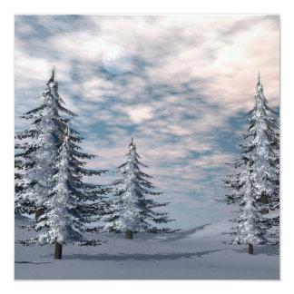 Cartão Paisagem dos abeto do inverno