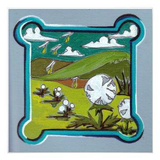 Cartão Paisagem dos dentes-de-leão de turquesa