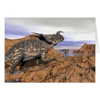 Cartão Paisagem dos dinossauros - 3D rendem