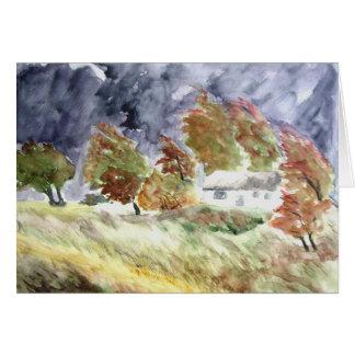 Cartão Paisagem Windswept da arte original do Watercolour