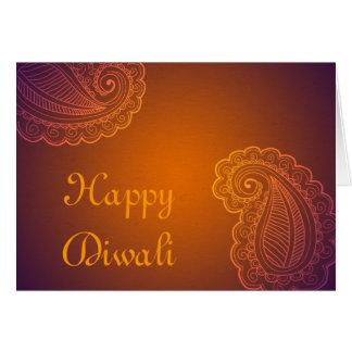 Cartão Paisley roxo alaranjado elegante Diwali feliz
