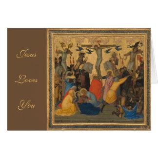 Cartão Paixão da pintura da crucificação do Jesus Cristo